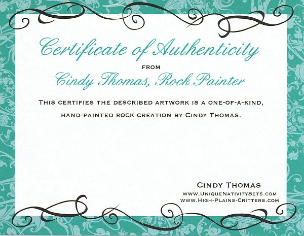Cindy Thomas Rock Painter Certificate of Authenticity