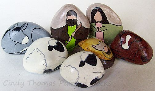 7-Piece Nativity Scene Figures Hand Painted on Stones