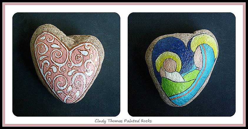 Heart of Christmas Mother & Child Reversible Painted Rock