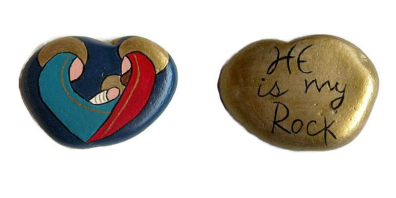 Reversible Nativity Painted Stone