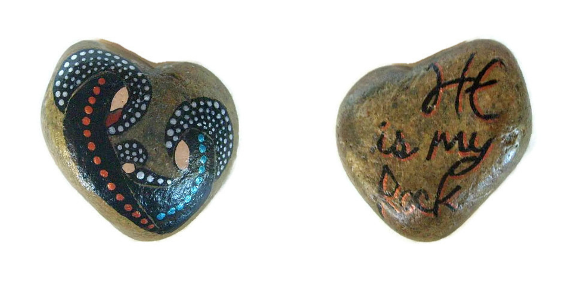 Reversible Pocket Nativity Painted Stone - Dotted
